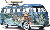 VW microbus goes surfing